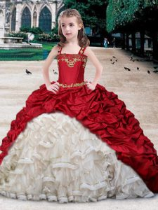 Straps White and Wine Red Organza and Taffeta Lace Up Winning Pageant Gowns Sleeveless Floor Length Beading and Applique