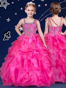 Sleeveless Organza Floor Length Zipper Little Girls Pageant Dress in Hot Pink with Beading and Ruffles