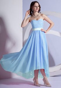 Light Blue Sweetheart Chiffon High-low Prom Party Dress with Belt and Ruching