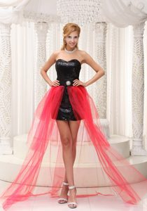New Arrival Red High-low Sweetheart Sequined Dresses for Party Best for Girls