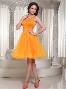 Orange One Shoulder Beaded Prom Party Dresses in Organza with Beaded Waist