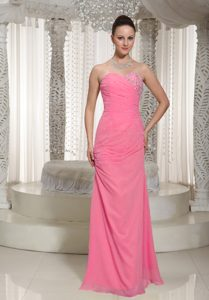 Most Popular Pink Sweetheart Ruched and Beaded Party Long Dress