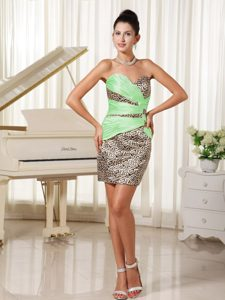 Simple Sweetheart Colorful Mini-length Prom Dress for Party in Leopard on Sale