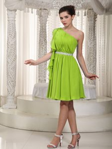 Yellow Green Empire Ruched One Shoulder Mini Prom Party Dresses