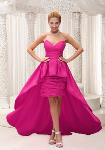 Hot Pink Sweetheart High-low Prom Dress for Party with Ruching Made in Taffeta