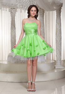 Newest Spring Green Strapless Mini Party Dress in Tull