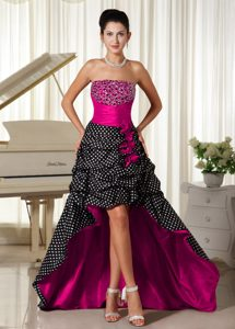 Beaded Strapless High-low 2013 Prom Party Dress with Special Fabric on Sale