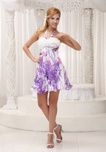 Colorful Halter Top Chiffon Prom Dress for Party with Ruching Made in Printing