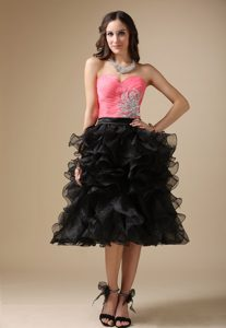 Watermelon Red and Black Organza Party Dress with Beading and Ruffled Layers