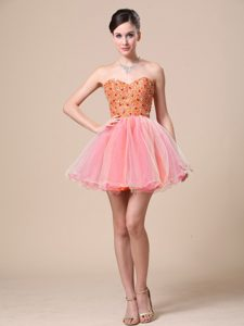 Shining Beaded Sweetheart Mini Prom Party Dress in Organza Popular in 2013