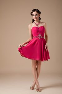 Hot Pink Empire Sweetheart Mini Formal Party Dresses with Beading
