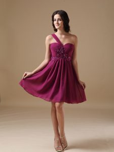 A-line One Shoulder Chiffon Prom Party Dress with Beading Popular Nowadays