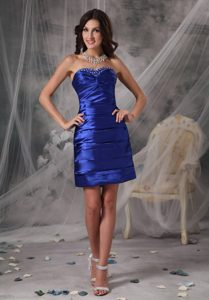Brand New Royal Blue Dresses for Party in with Ruching and Beading