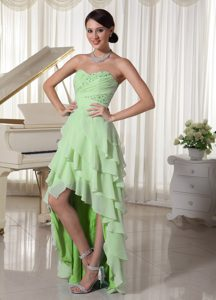 Light Green Chiffon High Low Party Dress with Beading and Ruching on Sale