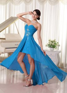 Sweetheart High-low Beaded Chiffon Prom Dress for Party with Blue Ruching