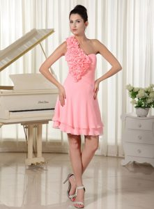 Single Shoulder Watermelon Chiffon Party Dresses