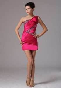 Hot Pink One Shoulder Beaded and Ruched Wedding Party Dress on Sale