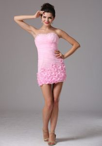 Baby Pink Cocktail Party Dress with Handle Flowers and Ruche
