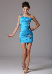 Baby Blue One Shoulder Evening Party Dresses with Beading and Ruche