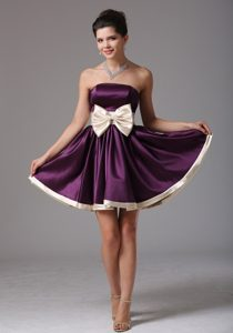 Beautiful Dark Purple Strapless Prom Party Dress with Sash to Mini-length
