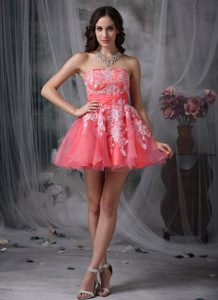 Watermelon A-line Strapless Organza Cocktail Party Dress with Appliques