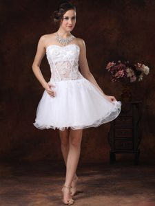 Lovely White Appliqued Sweetheart Organza Party Dresses to Mini-length