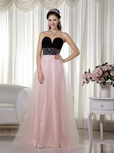 Pink and Black A-line Sweetheart Holiday Party Dress in and Tulle