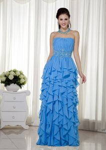 Aqua Blue Empire Strapless Chiffon Birthday Party Dresses with Beading