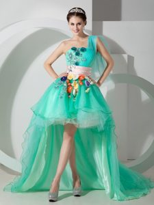 Super Hot Apple Green Evening Party Dresses with Beading and Appliques