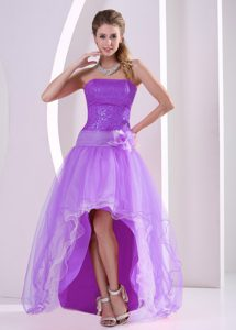 High-low Lavender Prom Party Dress with Sequins and Hand Made Flower