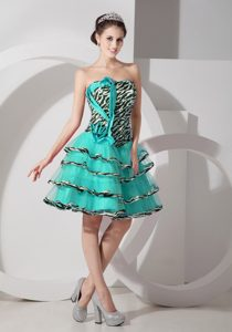 Fitted Turquoise A-line Strapless Layered Party Dress in Zebra and Organza