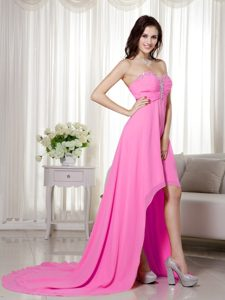 Hot Pink Sweetheart Chiffon Holiday Party Dresses in High-low with Ruche