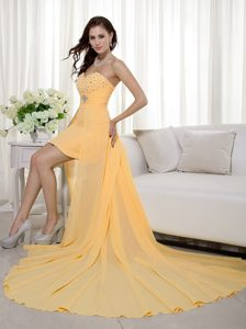 Sheath Sweetheart High-low Birthday Party Dresses with Beading in Orange