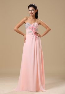 Peach Pink Chiffon Evening Party Dress with Beading and Handle Flowers