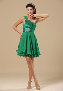 One Shoulder Green Prom Party Dress with Ruche on Promotion