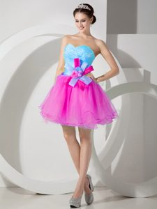 Baby Blue and Hot Pink A-line Sweetheart Holiday Party Dress in Organza