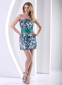 Colorful Mini-length Birthday Party Dress with Belt and Paillettes