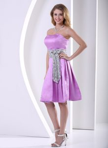 Lavender A-line Wedding Party Dress with Sequins and Decorated Sashes