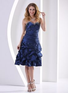 Navy Blue Sweetheart Beaded 2013 Cocktail Party Dresses with Pick-ups