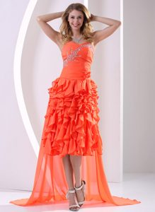 Orange Red Chiffon Sweetheart Beaded and Ruffled Evening Party Dresses