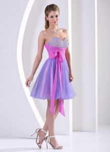Beaded Sweetheart Multi-color Prom Party Dress with Sash to Knee-length