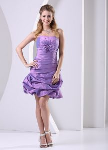 Cheap Lavender Ruched Party Dress with Bowknot to Knee-length