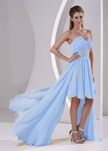 High-low Sweetheart Beaded Light Blue Holiday Party Dresses