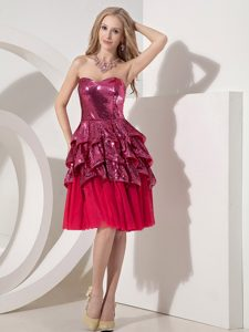 Custom Made Red Sweetheart Wedding Party Dress and Sequin