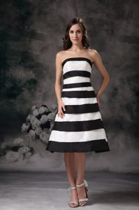 Black and White A-line Strapless Satin Evening Party Dress to Knee-length