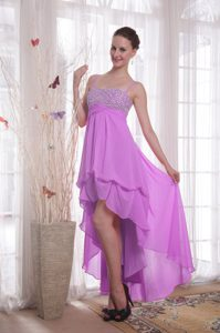 Purple Empire Straps High-low Chiffon Prom Party Dresses with Beading