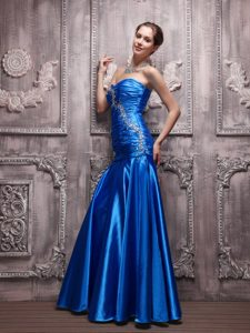 Blue Sweetheart Holiday Party Dresses in with Beading and Ruche