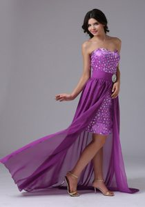 Discount High-low Chiffon Evening Party Dress in Purple with Rhinestones