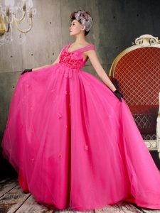 Beautiful Hot Pink Evening Party Dresses with Flowers and Cap Sleeves