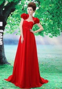 Custom Made Red 2013 Prom Party Dress with Handle Flower and Ruche